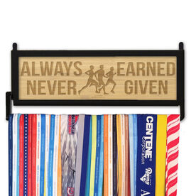 RunnersWALL Engraved Bamboo Medal Display Always Earned Never Given