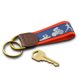 Swim Bike Run Triathletes Key Fob (Navy/Red)