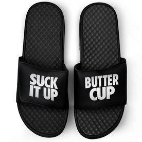 Running Black Slide Sandals - Suck It Up Butter Cup