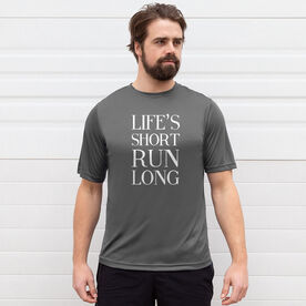 Men's Running Short Sleeve Tech Tee - Life's Short Run Long (Text)