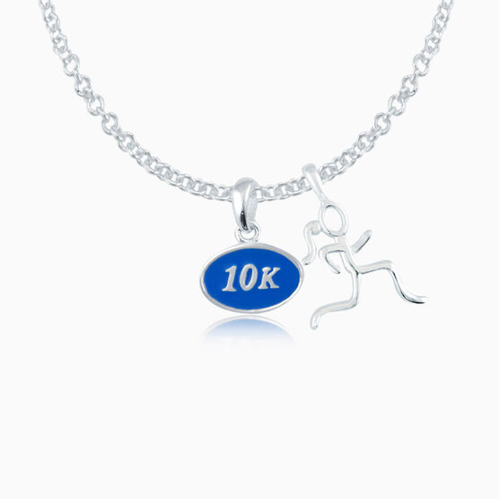 Sterling Silver and Blue Enamel Mini 10K Pendant Necklace