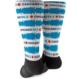 Running Printed Mid-Calf Socks - Chicago 26.2 Flag Repeat