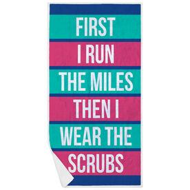 Running Premium Beach Towel - Then I Wear The Scrubs