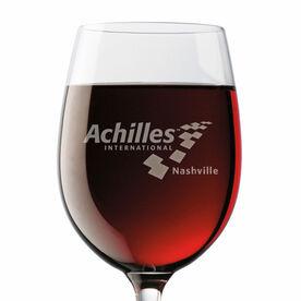 Stemmed Wine Glass - Achilles International-Nashville Logo