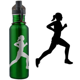 Running Girl Silhouette 24 oz Stainless Steel Water Bottle