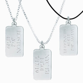 Sterling Silver RunTAG Personalized Rectangular Tag Charm Necklace