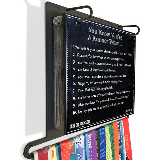 BibFOLIO Plus Race Bib and Medal Display Chalkboard You Know You're A Runner When