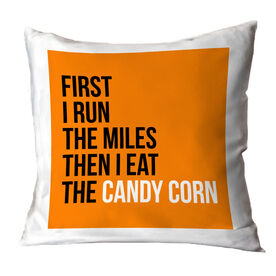 Running Throw Pillow - Then I Eat The Candy Corn