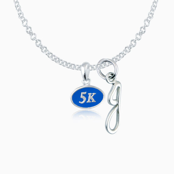 Sterling Silver and Blue Enamel Mini 5K Pendant Necklace