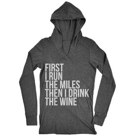 Women's Running Lightweight Performance Hoodie - Then I Drink The Wine