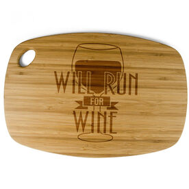 Rectangle Laser Engraved Bamboo Cutting Board Will Run For Wine (Deco)