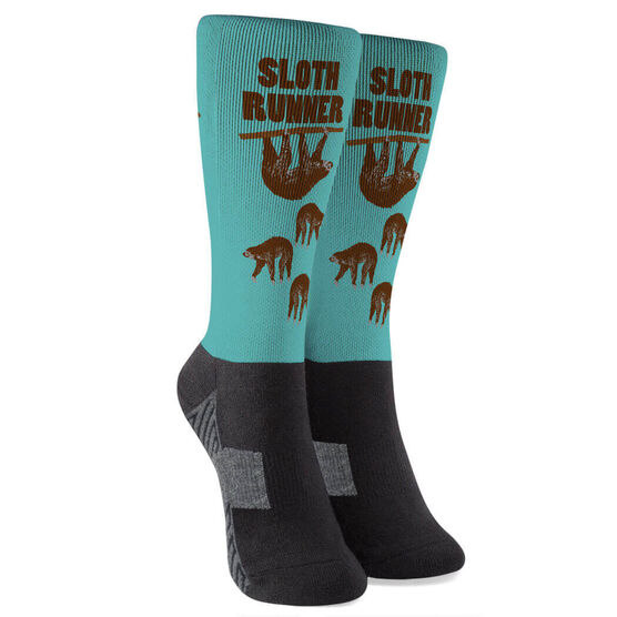 Running Printed Mid-Calf Socks - Sloth Runner