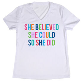 Women's Short Sleeve Tech Tee - She Believed She Could (Colorful)