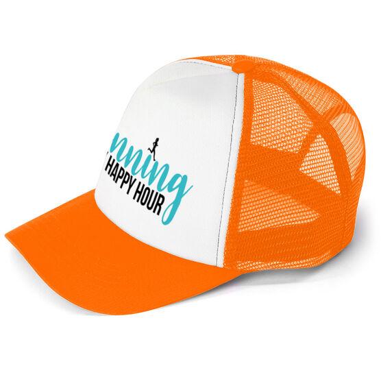 Running Trucker Hat - Running Is My Happy Hour