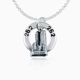 26.2 Chicago Necklace with Sterling Silver Chicago Charm and 26.2 Message Ring Charm