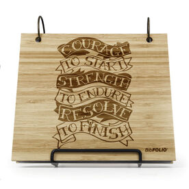 Engraved Bamboo Wood BibFOLIO® Race Bib Album - Courage To Start Tattoo