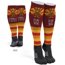 Running Printed Knee-High Socks - Run Now Gobble Later Stripe