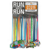 Running Large Hooked on Medals and Bib Hanger - Run Your Name Run
