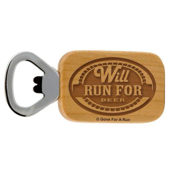Will Run For Beer Maple Bottle Opener