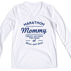 Women's Customized White Long Sleeve Tech Tee Marathon Mommy