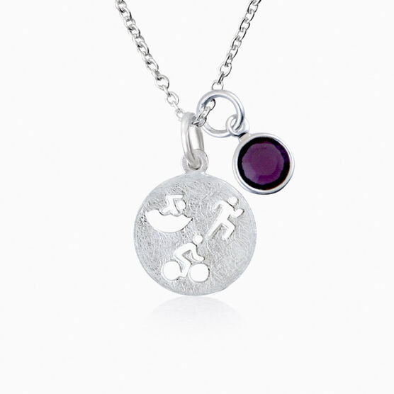 Livia Collection Sterling Silver Matte Tri Figures Necklace