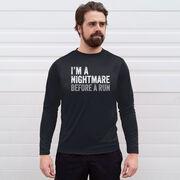Men's Running Long Sleeve Tech Tee - I'm A Nightmare Before A Run Bold