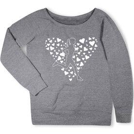 Running Fleece Wide Neck Sweatshirt - Love 2 Run Heart