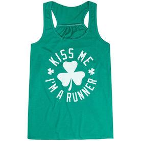 Running Flowy Racerback Tank Top - Kiss Me I am a Runner Shamrock