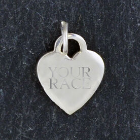 Sterling Silver 13 mm Heart Charm Your Race