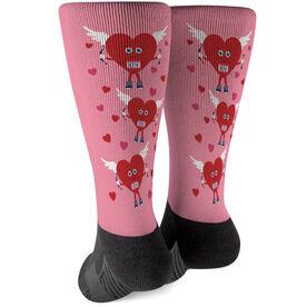Running Printed Mid-Calf Socks - Cupid Heart Runner