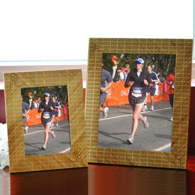 Bamboo Engraved Picture Frame Run Run Run With Stick Figure