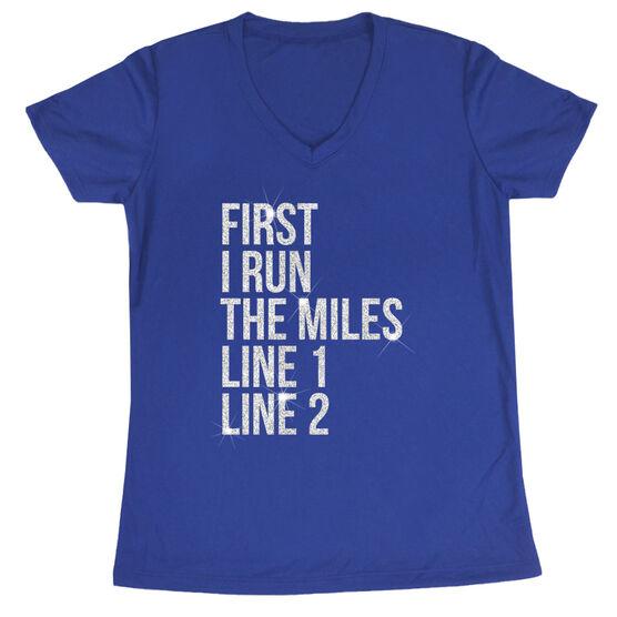 Women's Running Short Sleeve Tech Tee - Custom First I Run The Miles