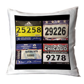 Running Throw Pillow - Custom Race Bib (4 Bibs)