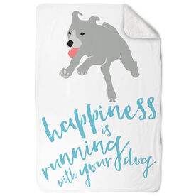 Running Sherpa Fleece Blanket Happiness Is Running With Your Dog