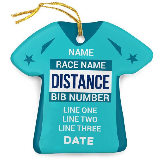 Running Porcelain Ornament Custom Bib-Date Race Time Shirt Ornament