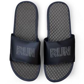 Running Navy Slide Sandals - RUN Inspiration Chalkboard
