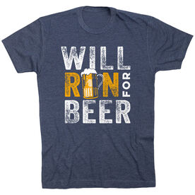 Running Short Sleeve T- Shirt - Will Run For Beer