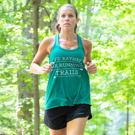 Flowy Racerback Tank Top - I'd Rather Be Running Trails