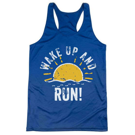 Women's Racerback Performance Tank Top - Wake Up And Run