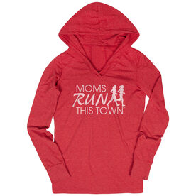 Women's Running Lightweight Performance Hoodie - Moms Run This Town Logo (White)