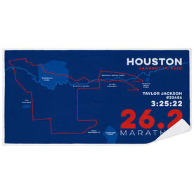 Running Premium Beach Towel - Personalized Houston Map