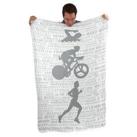 Triathlon Sherpa Fleece Blanket Swim Bike Run Inspiration Male