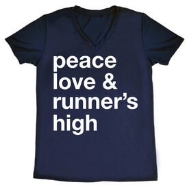 Women's Running Short Sleeve Tech Tee - Peace Love & Runner's High