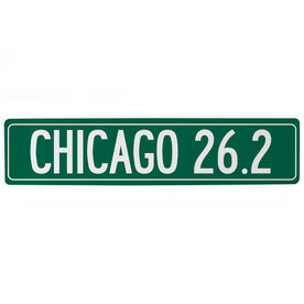 "Running Aluminum Room Sign - Chicago 26.2 (4""x18"")"