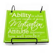 BibFOLIO® Race Bib Album - Ability, Motivation, & Attitude Quote - Artist Style