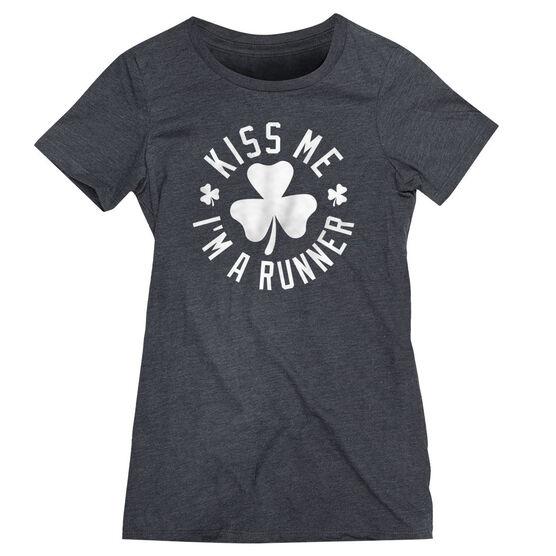 Running Women's Everyday Tee - Kiss Me I am a Runner Shamrock