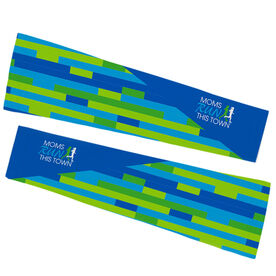 Running Printed Arm Sleeves - Moms Run This Town Logo Block Pattern
