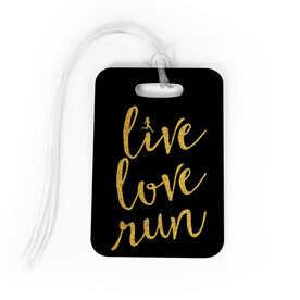 Running Bag/Luggage Tag - Live Love Run Faux Glitter