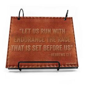 BibFOLIO® Race Bib Album - Let Us Run With Endurance... Quote Executive