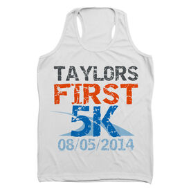 Women's Customized Performance Tank Top First 5K (Distressed) (White Tank Top)